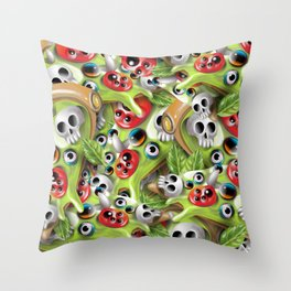 Pizza Monster Pattern Throw Pillow