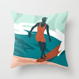 Solo Surf Throw Pillow