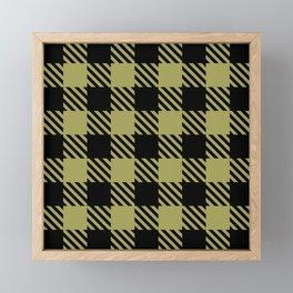 Plaid Pattern Black and Olive Green Framed Mini Art Print