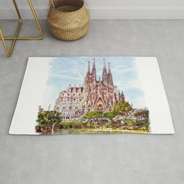La Sagrada Familia watercolor Rug