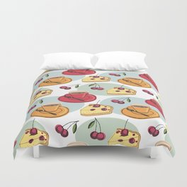 Cherry Pie And A Hot Cup Of Coffee Duvet Cover