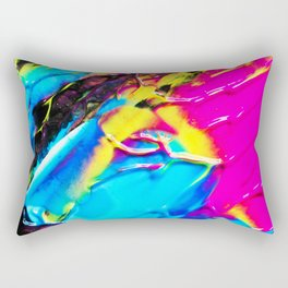 The 80s Retro Dream Ice Cream - Blue Pink and Yellow Paint on Canvas Rectangular Pillow