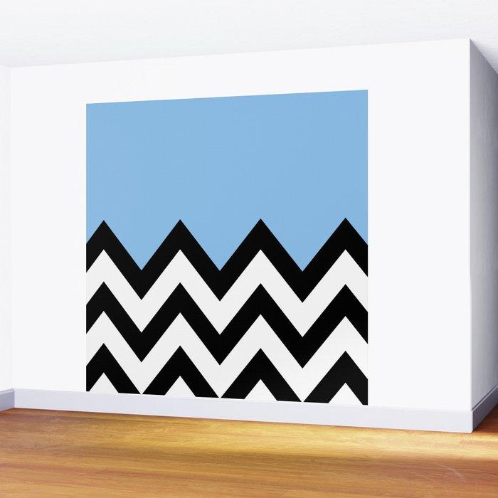 BLUE COLORBLOCK CHEVRON Wall Mural