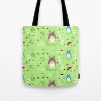 ghibli Tote Bags featuring Ghibli pattern by Sophie Eves