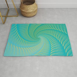 The Eye of the Tropical Storm | Turquoise Twist Geometric Spiral Artwork Rug