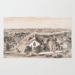 Vintage Pictorial Map of Salem MA (1854) Rug