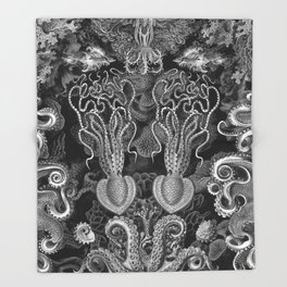 The Kraken (Black & White - No Text) Throw Blanket
