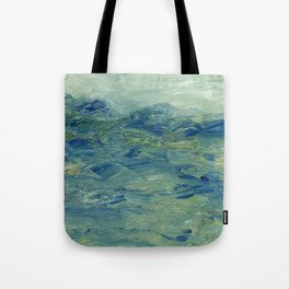 Abstract Blue Green Waves of Aqua Ocean Blue Mountains Tote Bag