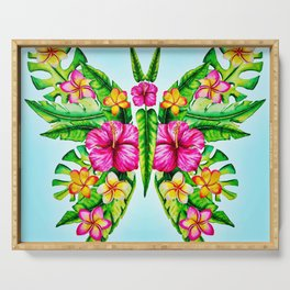 Butterfly Of Tropical Summer Flowers Serving Tray