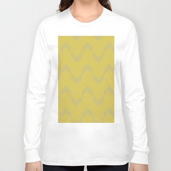Simply Deconstructed Chevron Retro Gray on Mod Yellow Long Sleeve T-shirt