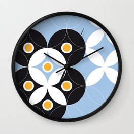 Blue White Black Greek Modern Mosaic Wall Clock