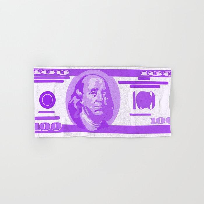 BIG PURPLE 100 DOLLAR BILL BEN FRANKLIN $$$ Hand & Bath Towel by  bluetoothbrush
