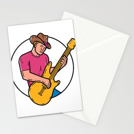 Cowboy Rocker Guitarist Mono Line Art Stationery Cards