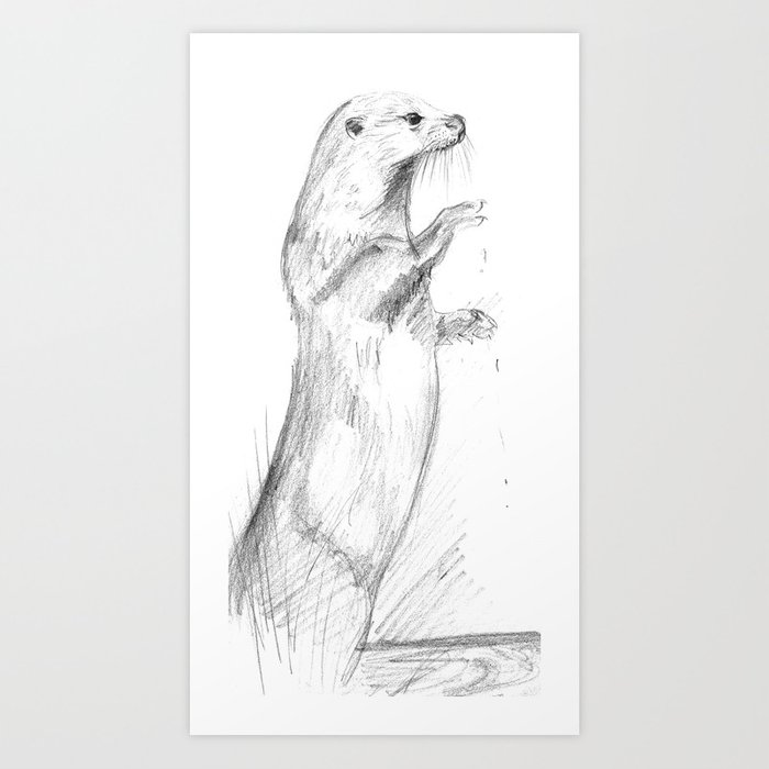 Totem River Otter (Lutra lutra) Art Print