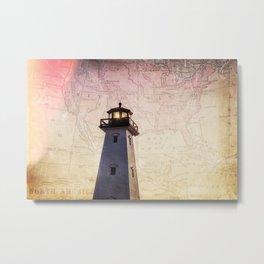 Lighthouse Map Metal Print
