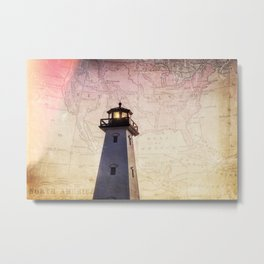 Lighthouse Map Metal Print