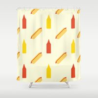 hot dog Shower Curtains featuring Hot dog by Will Wild