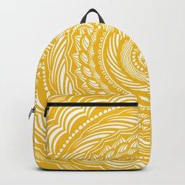 Spiral Mandala Detailed Eclectic Ethnic Spiritual Minimalism Minimalist Design (Yellow) Backpack