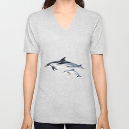 Striped dolphin Unisex V-Neck