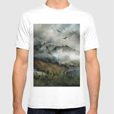 Eagle Mountains MEDIUM White Mens Fitted Tee