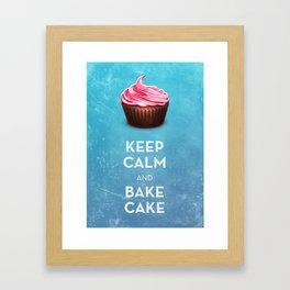 Keep Calm & Bake Cake Framed Art Print