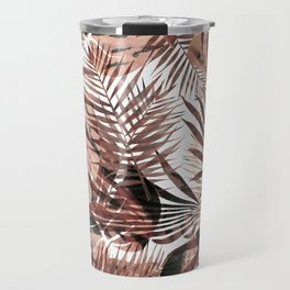 Brown tropical palm and ficus leaves Travel Mug