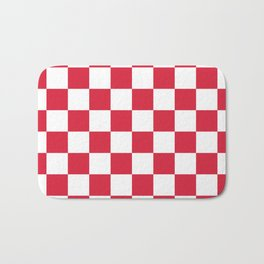 Red, Cherry: Checkered Pattern Bath Mat