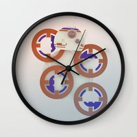 starwars Wall Clocks featuring StarWars BB8 by Joshua A. Biron