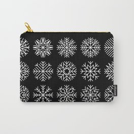 minimalist snow flakes on black Carry-All Pouch