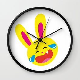 One Tooth Rabbit Emoticons Rolling on the Floor Laughing Wall Clock