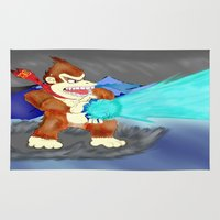 donkey kong Area & Throw Rugs featuring Donkey Kong Super Kamehameha by Juiceboxkiller