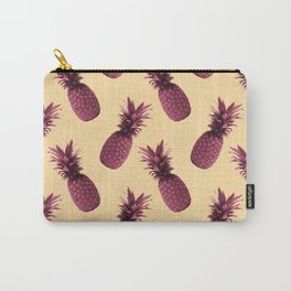 Pineapple Pattern - Tropical Pattern - Summer- Pineapple Wall Art - Purple, Beige - Minimal Carry-All Pouch