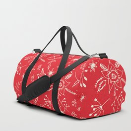 Winter Floral Red Duffle Bag