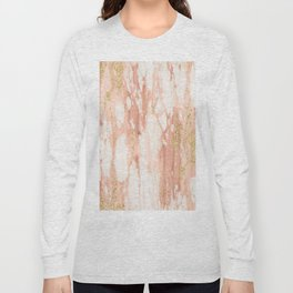 Rose Gold Marble - Rose Gold Yellow Gold Shimmery Metallic Marble Long Sleeve T-shirt