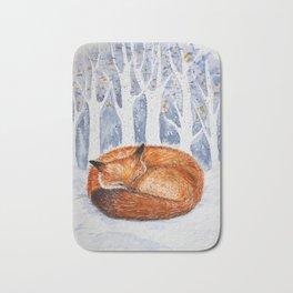 Wintery scene with a sleeping fox Bath Mat