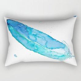 Blue Feather  Rectangular Pillow