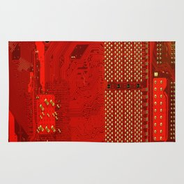 Computer texture red motherboard circuit Rug