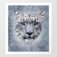 snow leopard Art Prints featuring snow leopard by ulas okuyucu