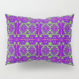 Bright orange and light green ornament on lilac. Pillow Sham