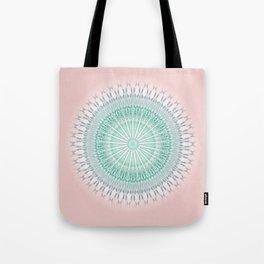 Dusky Pink Green Mandala Tote Bag