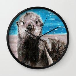 My Otter painting by Karen Chapman Wall Clock