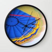 hot air balloon Wall Clocks featuring BALLOON LOVE - Hot Air Balloon by Brian Raggatt