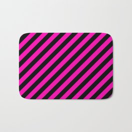 Bright Hot Neon Pink and Black Candy Cane Stripes Bath Mat