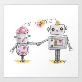 Cute robots in love Art Print