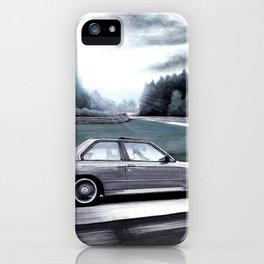 M3 CAR RIDING THROUGH THE FAMOUS NURBURGRING RACE TRACK AT DAY iPhone Case