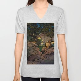 The oaks, the garden of years and other by Maxfield Parrish Unisex V-Neck