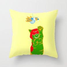 Here Battle Kitty Kitty Throw Pillow