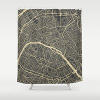 paris map Shower Curtains featuring Paris Map by Map Map Maps