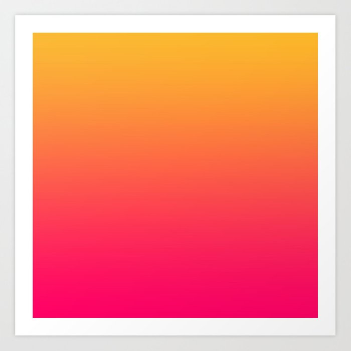 Hot Pink / Golden Heart Gradient Colors Art Print