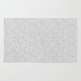 Light Gray Triangles Concentric Polygons Rug